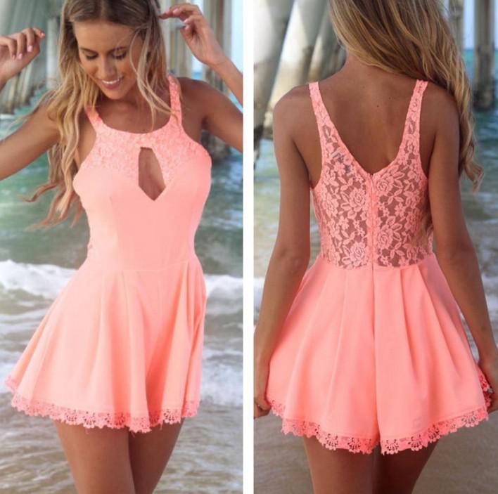 2016 Sexy Summer Dress новая мода кружева Dress женщины платья шифон короткая юбка повседневная рукавов платье партии дамы девушка принцесса юбка Hz4