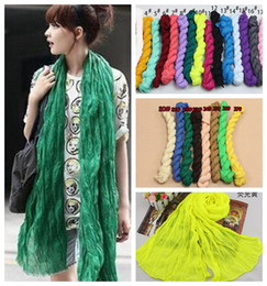 Wholesale Super Promotions - 27colors 50X180cm Fashion Promotion Solid Linen Fold Super Long Big Shawl Women Sexy Fashion Cheap Multicolor Punk Scarf Scarves Wraps