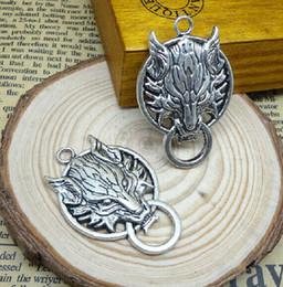 Wholesale Wolf Charms For Bracelets - fashion charms for bracelets wolf Fashion Jewelry Findings,Accessories,charm,pendant,Alloy Antique Bronze 40*27MM Wolf