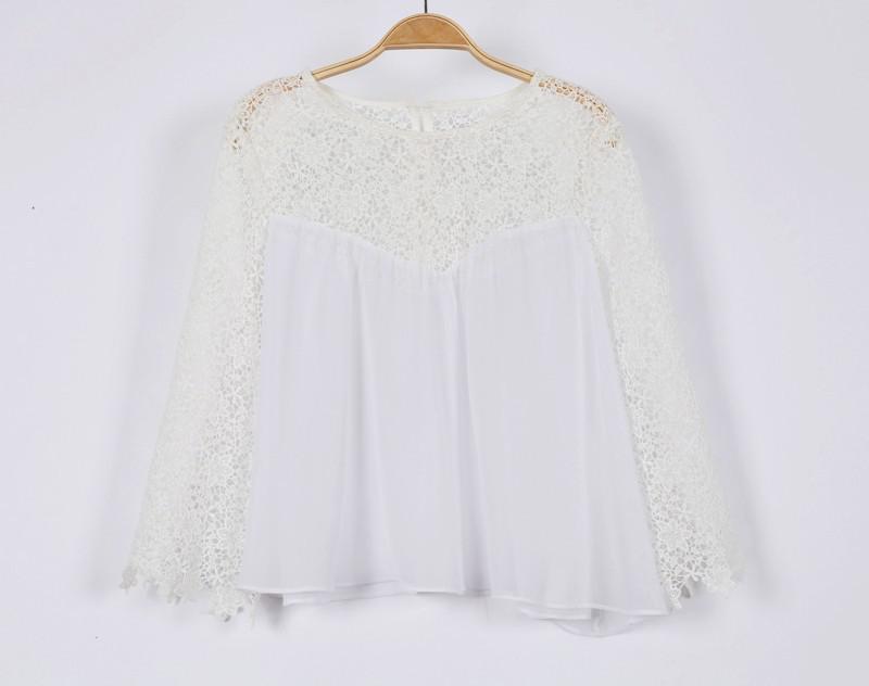 أزياء الصيف الدانتيل 2014 ر-- القميص المرأة السيدات الأبيض ر-- القميص مثير الفتيات عارضة الشيفون تي-- شيرت قمم للدبابات بالاضافة الى حجم الدانتيل قمم تي-- شيرت hz5