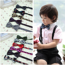 Wholesale Wholesale Bow Ties Cheap - Fashion Children's Bow Ties Boys Self Tie Bowtie Polyester Silk Polka Dots Striped Tie Cheap Wholesale