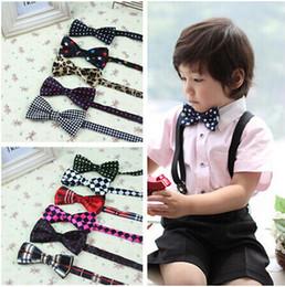 Wholesale Cheap Silk Ties Wholesale - Fashion Children's Bow Ties Boys Self Tie Bowtie Polyester Silk Polka Dots Striped Tie Cheap Wholesale