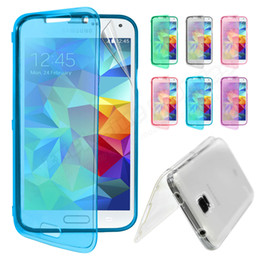 Wholesale S4 Cover Silicone Gel - Flip TPU Silicone Gel Case Cover Touch Screen flip case & Screen Protector For SAMSUNG Galaxy S4 S5 Note 2 3 4 iphone 6 6 Plus 5 5c 5s 4