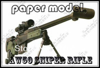 Wholesale Sniper Paper - Paper Model Gun Pistol AW50 Sniper Rifle 1 : 1 Scale Handmade DIY Toys Free Shipping