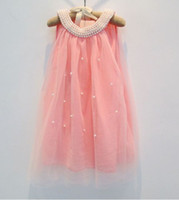 Wholesale Tank Dress For Girls Wholesale - For 2-7 Years Girls Summer Lace Pearl Butterfly Dresses Kids Clothing Back Bow Sleeveless Tulle Vest Tank Dress Children Sweety Dressy J0517