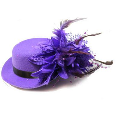 Women bride hat cap wedding ribbon gauze lace feather flower Mini top hats fascinator party hair clips caps homburg millinery hair jewelry
