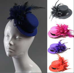 Discount women gray hair - Fashion women bride hat cap wedding ribbon gauze lace feather flower Mini top hats fascinator party hair clips caps mill