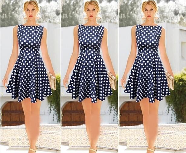 2016 مثير النقاط الصيف اللباس أزياء النساء فساتين زائد الحجم المدرج خمر مطوي تنورة عارضة أكمام السيدات فتاة حزب اللباس الأزرق HZ9