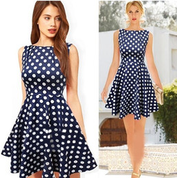 Wholesale Women Skirts Blue Pleated - 2017 Sexy Summer Dots Dress Fashion Women Dresses Plus Size Runway Vintage Pleated Skirt Casual Sleeveless Ladies Girl Party Blue Dress HZ9