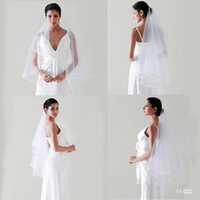 Wholesale Wedding Veils Free Delivery - 2015 Free Shipping New Bridal Cheap In Stock 11002 Tulle Wedding Veil Cascading Ruffles 2 Layers White Ivory Fast Delivery