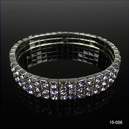 Wholesale Bangle Bracelet Jewelry Resin - 2017 Most Popular Best Selling Elastic Sliver Rhinstone Crystal Stretchy Pearl Cheapest Wedding Bracelets Party Bridal Jewelry