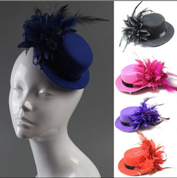 Wholesale Black Feather Fascinator Hat - Women bride hat cap wedding ribbon gauze lace feather flower Mini top hats fascinator party hair clips caps homburg millinery hair jewelry