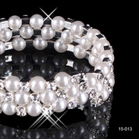 Wholesale Stones For Wedding - Chic Modest Cheap In Stock 3 Row White Pearls Bridal Bracelets Wedding Jewelry Vintage Bracelet for Party Prom Evening Women Free Shipping