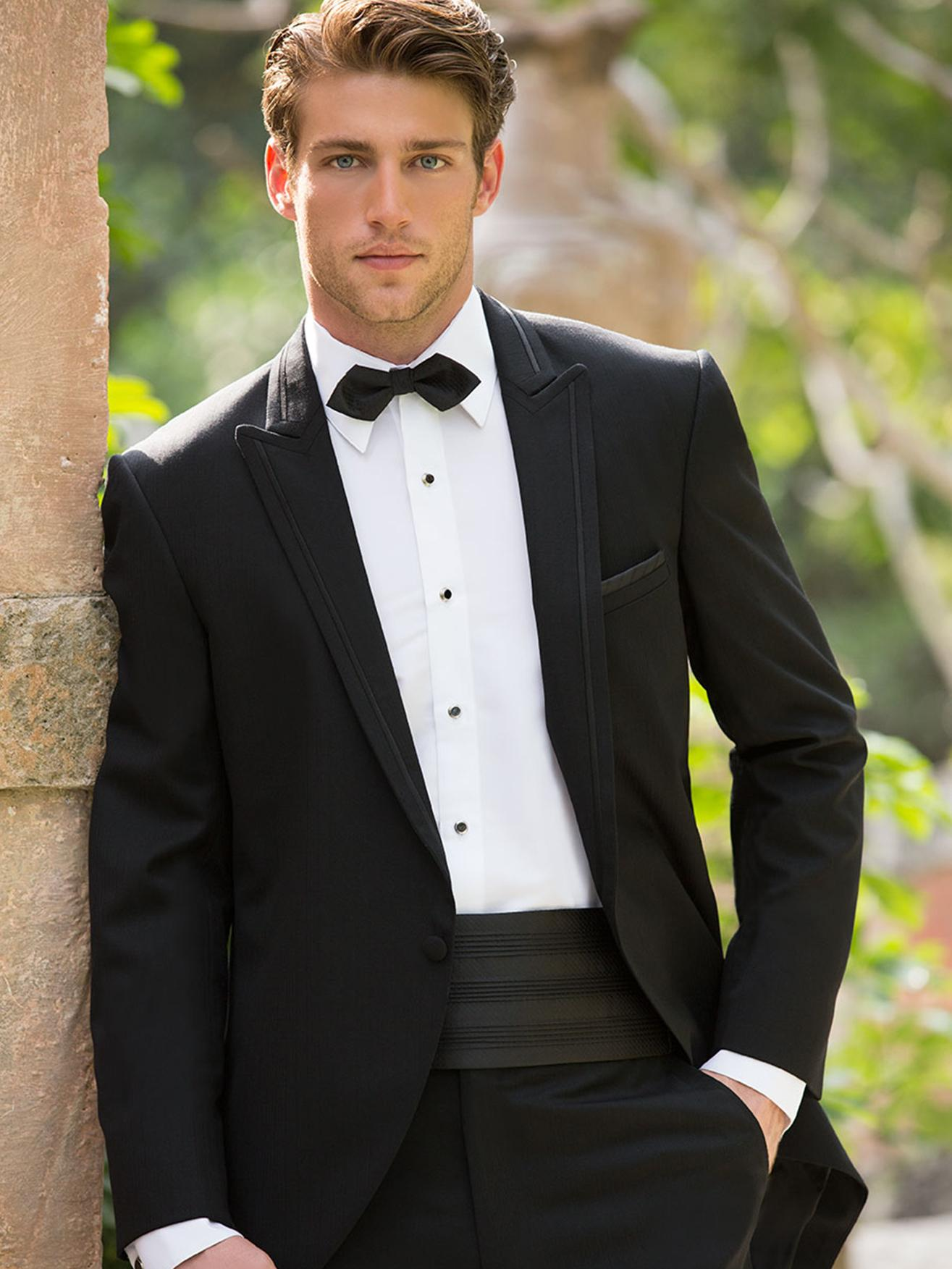 New Arrival Handsome Black One Button Groom Tuxedos Best ...