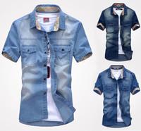 Wholesale Washing Collared Shirts - K75 New fashion Men's Jeans Casual Slim Stylish Wash-Vintage Denim Shirts