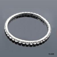 Wholesale wedding bracelets for sale - 15005 White Rhinestones Bridal Jewelry Pearls Bracelets bridal Wedding Accessories Silver Plated Row Chain Style Wedding Bracelet