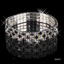 Wholesale rhinestone rows - 15011 White Rhinestones Bridal Jewelry Pearls Bracelets bridal Wedding Accessories Silver Plated 3 Row Chain Style Wedding Bracelet 2018