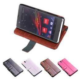 Wholesale Xperia Z Leather Flip Case - S5Q Luxury Flip Stand Wallet PU Leather Cover Skin Case For Sony Xperia Z L36h AAADMV