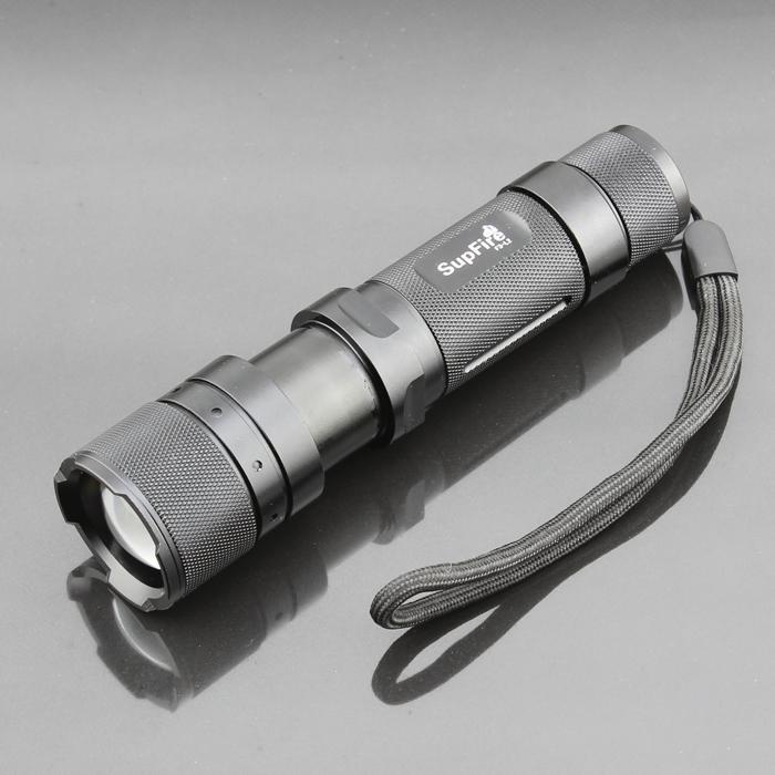 T6)LED 10W 1100 Lumen Focusing Flashlight LED Torch Black SUPFIRE F3-L2 CREE L2
