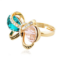 Wholesale New Fashion Butterfly Ring - Bohemian Style Butterfly 2015 New Fashion Noble Jewelry Butterfly ring Knot Crystal Glass Women's Rose Gold Plated Ring