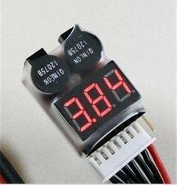 Battery Voltage Indicators NZ - 100pcs lot 1-8s New Digital Lipo battery Voltage Indicator volt meter monitor buzzer Alarm