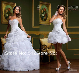 Wholesale Elegant Sweetheart Lace Applique - 2014 Vintage Sweetheart Wedding Dress With Detachable Train Elegant Two Pieces Beautiful Sweetheart Flower A-line ball Wedding Dress Gowns