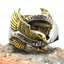 Wholesale Ride Top - Hot Selling Ride To Live Eagle Biker Ring 316L Stainless Steel Top Quality Flying Eagle Cool Motorbiker Ring