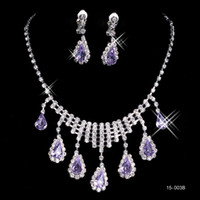 Wholesale Purple Silver Jewelry Sets - 15003B Fashion Cheap In Stock Elegant Wedding Bridal Prom Rhinestone Pearlsl Jewelry Necklace Earring Set Hot Sale