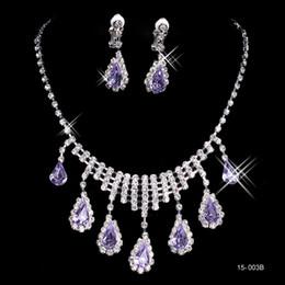 Wholesale Cheap Rhinestone Bridal Jewelry - 15003B Fashion Cheap In Stock Elegant Wedding Bridal Prom Rhinestone Pearlsl Jewelry Necklace Earring Set Hot Sale