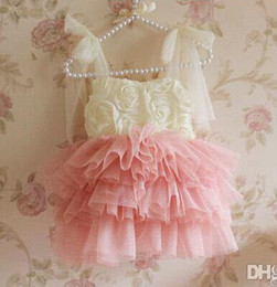 Wholesale One Strap Flower Girl Dresses - baby girl kids rose flower tutu dress floral tutu dress one-piece ruffles tulle layers princess lace costumes sequin fluffy dress strap 5