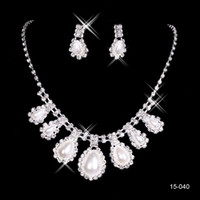Wholesale pageant earrings necklace resale online - 15040 Cheap Hot Sale Womens Bridal Wedding Pageant Rhinestone Necklace Earrings Jewelry Sets for Party Bridal Jewelry