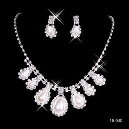 15040 billig heißer Verkauf Womens Braut Hochzeit Pageant Strass Halskette Ohrringe Schmuck Sets für Party Brautschmuck im Angebot