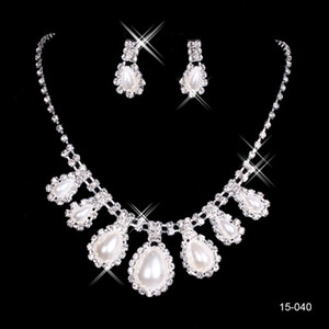 Wholesale 15040 Cheap Hot Sale Womens Bridal Wedding Pageant Rhinestone Necklace Earrings Jewelry Sets for Party Bridal Jewelry