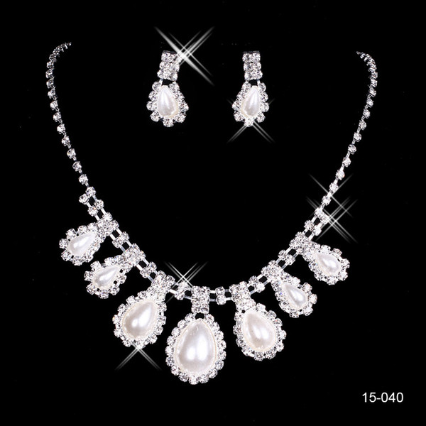 2015 Fashion Cheap In Stock 15040 Elegant Wedding Bridal Prom Rhinestone Pearlsl Jewelry Necklace Earring Set Silver-Plated Lobster clasp