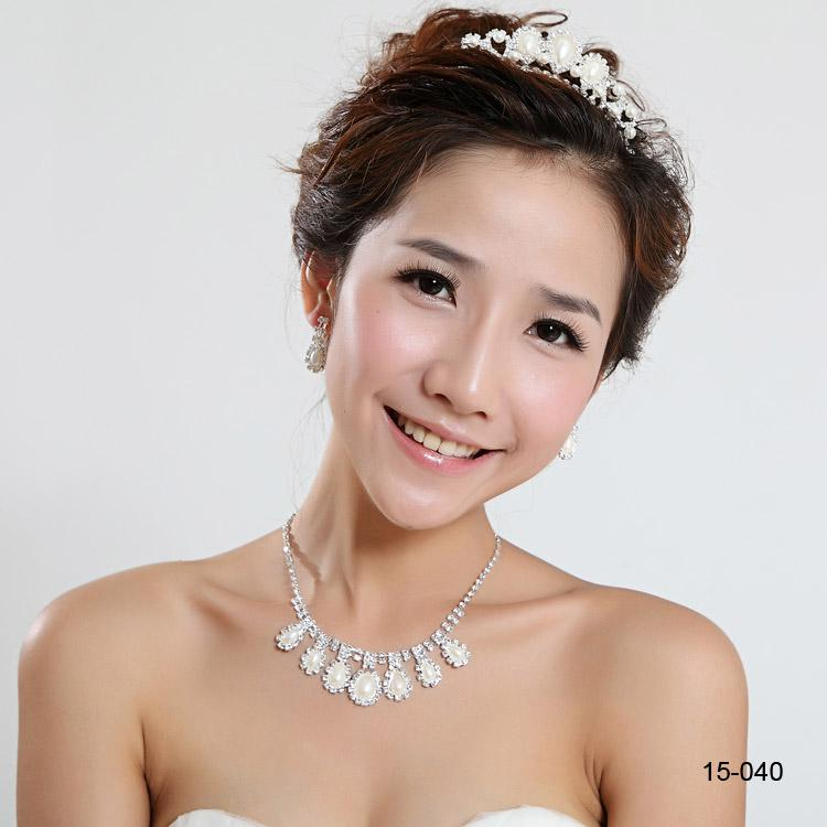 Fashion Cheap In Stock 15040 Elegant Wedding Bridal Prom Rhinestone Pearlsl Jewelry Necklace Earring Set Silver-Plated Lobster clasp