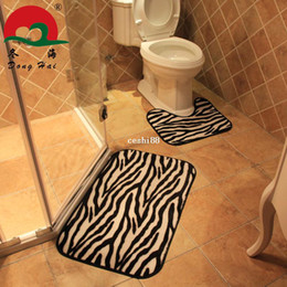 Wholesale Leopard Print Carpet - Free Shipping!Carpet modern brief fashion zebra and leopard print bathroom bath mat twinset slip-resistant rugs and mats 50*80cm