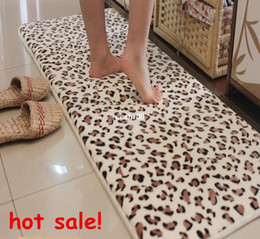 Wholesale Leopard Print Carpet - Bathroom Products Memory Foam Mats Slip-Resistant Water-absorbing Doormat Leopard Print Carpet Bath Rug 45 120cm free shipping