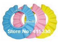 ingrosso cappelli da bagno per bambini-10pcs / Hat Shield sacco regolabile Sicurezza Baby Shampoo, figlio di bagno doccia tappo della lavata dello schermo dei capelli della protezione del cappello