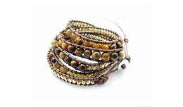 Wholesale Beaded Leather Wrap Bracelet Black - 6mm tiger eye bead wrap bracelet new design handmade wrap immitation bracelet 5pcs Lot Free Shipping