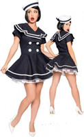 Wholesale Sailor Girl Fancy Dress - FREE SHIPPING Sexy Black Sailor Girl Halloween Plus Size Cosplay Outfit Ladies Fancy Dress Costume ZT8474