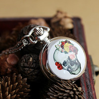 Wholesale Silver Quartz Pocket Watch - Hot Selling Silver Color Plated Shine Flower and Skull Pocket Watch