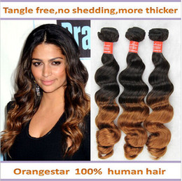 Queen Brazilian Ombre hair extensions loose wave 3 bundles lot Two Tone Color 1b# 30 10''-24'' human remy wavy ombre hair weave