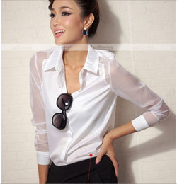 Wholesale Sheer Chiffon Blouse Wholesale - Wholesale-Q591 Women Ladies Western Design Long Sleeve Turn-down Collar Chiffon Blouse Tops Casual Sheer Solid Sexy Black White