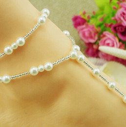 Wholesale Pearl Toe Ring - Fashion Barefoot Sandal Anklet Toe Ring Foot Jewelry Barefoot Sandal Double Pearl Ankle Bracelet Beach Wedding Jewelry Foot Jewelry XR2