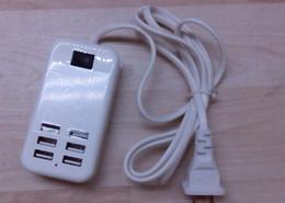 Puertos usb de escritorio online-Escritorio 6 puertos USB Cargador de viaje 5V 6A 30W USB Adaptador de cargador de escritorio Cargador de pared EE. UU. Enchufe de la UE con 1.5 m Cable para teléfono inteligente 20 sets / lote