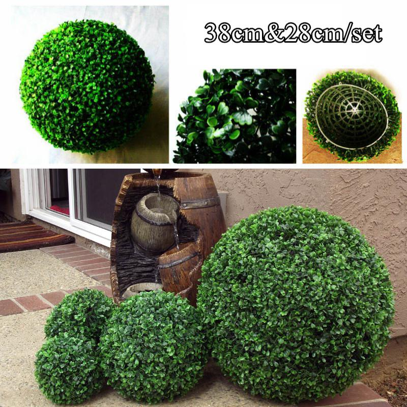 Decorative Boxwood Balls Glamorous One Set 38Cm&28Cm Artificial Grass Boxwood Ball Kissing Ball For Decorating Inspiration
