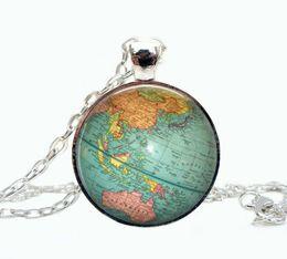 Wholesale Glass Globe Necklace - Globe jewelry, vintage globe pendant , globe art pendant , teacher gift, world travel adventurer , world map globe jewelry