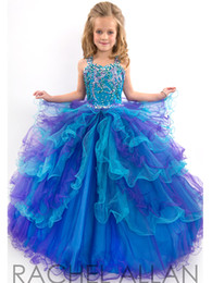 Wholesale Girls Ball Gown Tone - Custom Made Beads Two-Tone Tiered Girl's Pageant Dresses Ball Gown Straps Floor Length Tulle Flower Girl Dress