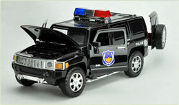 Discount black metal collection - 1:24 Scale Alloy Metal Diecast ForPolice Car Model For Hummer H3 Collection Model Toys Car With Sound&Light - Black   Wh