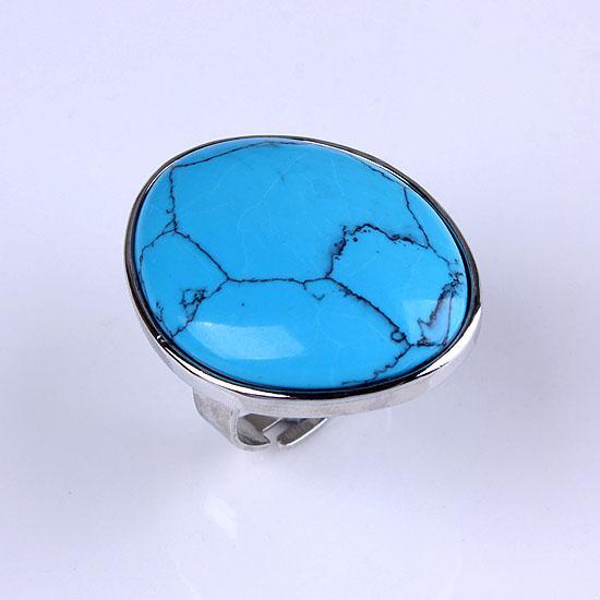 Gratis frakt Partihandel 10st ny snygg silverpläterad blueturquoise sten ellipse form justerbar ring charm smycken